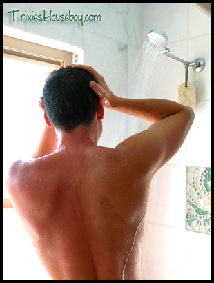 muscular hunk in the shower