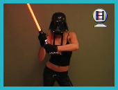 Jedi Madison engaged in light sabre wars with evil blonde clone!